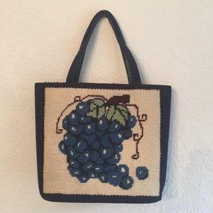 Vintage 1960s needlepoint purse grapes motif tote